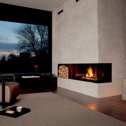 cheminée béton et metal noir foyer ruegg atre et loisirs