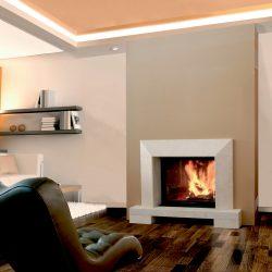cheminée avec cadre en pierre beige modèle campo atre et loisirs