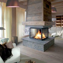 cheminée centrale chalet hotte suspendue foyer 4 faces atre et loisirs