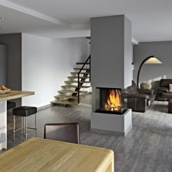 cheminée centrale moderne foyer insert ruegg cubeo atre et loisirs