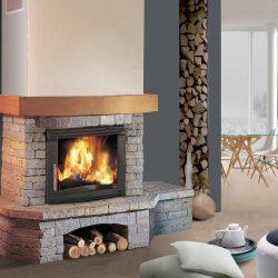 cheminée chalet en pierre sèche galbée insert jotul modèle estanco atre et loisirs