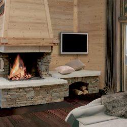 cheminée chalet en pierre sèche et hotte sapin modèle rhodo atre et loisirs