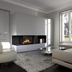 cheminée contemporaine metal noir et blanc foyer ruegg 720 atre et loisir