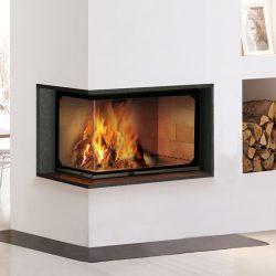 cheminée d'angle cadre noir foyer atra modèle pivato atre et loisirs