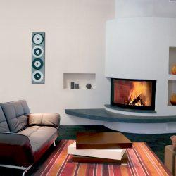 cheminée d'angle moderne blanc pierre bleu du hainaut modèle vario atre et loisirs