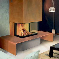 cheminée design 3 vitres metal rouillé modèle métalo
