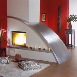 cheminée design inox
