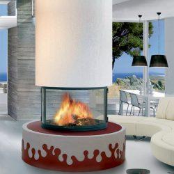 cheminée design ronde cenrtrale modèle soho atre et loisirs