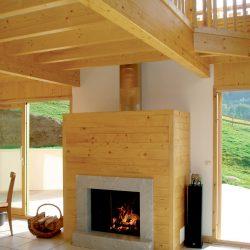cheminée en bois et marbre bleu de savoie atre et loisirs