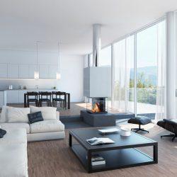 cheminée loft centrale en beton foyer ruegg cubeo atre et loisirs