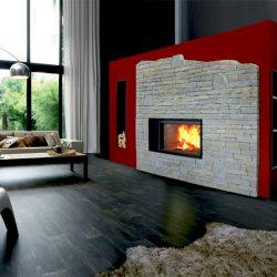 cheminée loft pierre brute sèche foyer stuv modèle esquimo atre et loisirs