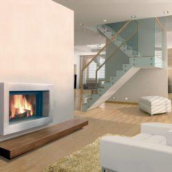 cheminée moderne cadre inox modèle linéo atre et loisirs