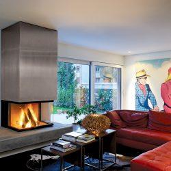cheminée moderne 3 vitres beton foyer insert ruegg atre et loisirs