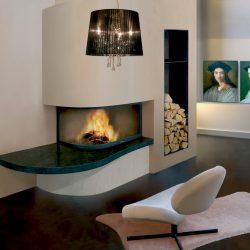 cheminée moderne d'angle galbée en pierre bleue du hainaut modèle galileo atre et loisirs