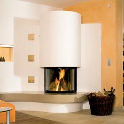 cheminée moderne angle galbée foyer ruegg atre et loisirs