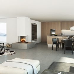 cheminée moderne angle sortant foyer ruegg cubeo atre et loisirs