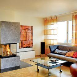 cheminée moderne beton ciré insert 3 vitres ruegg pi atre et loisirs