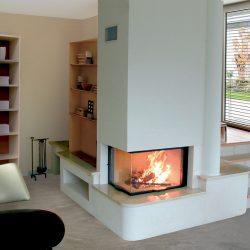 cheminée moderne avec bibliotheque insert 2 vitres ruegg atre et loisirs