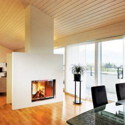 cheminée moderne blanche double face foyer insert ruegg jade atre et loisirs