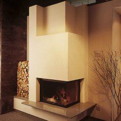cheminée moderne blanche insert 2 vitres ruegg atre et loisirs