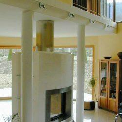 cheminée moderne cadre inox galbé foyer insert ruegg atre loisirs