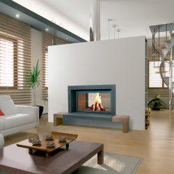 cheminée moderne cadre granit noir foyer 16 9 stuv modèle ackro atre et loisirs