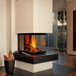 cheminée moderne centrale foyer insert ruegg pi atre et loisirs