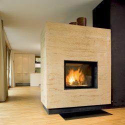 cheminée moderne cube en travertin insert ruegg atre et loisirs