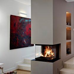 cheminée moderne dans un escalier foyer insert ruegg epi atre et loisirs