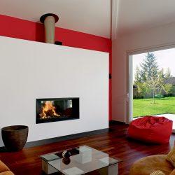 cheminée moderne façade blanche foyer insert ruegg atre et loisirs