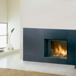 cheminée moderne façade granit noir modèle vulcano atre et loisirs
