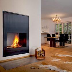 cheminée moderne façade acier noir foyer insert ruegg atre et loisirs