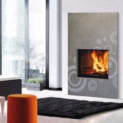 cheminée moderne façade en pierre gris modèle aero atre et loisirs