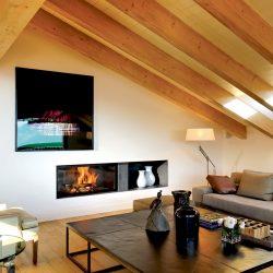 cheminée moderne intégration tv foyer ruegg atre et loisirs