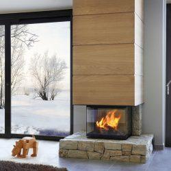 cheminée moderne en pierre hotte en bois insert rruegg pi-collo 3 vitres modèle pimlico atre et loisirs