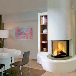 cheminée moderne ronde bibliotheque en pierre blanche et marbre rouge modèle yello atre et loisirs