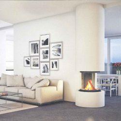 cheminée moderne ronde centrale blanche foyer insert ruegg odeon atre et loisirs