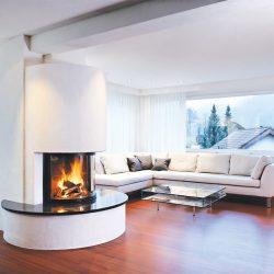 cheminée moderne ronde granit foyer insert ruegg atre et loisirs