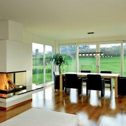 cheminée noir et blanc 3 faces foyer 3 vitres insert ruegg atre et loisirs