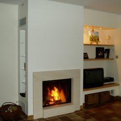 cheminée en pierre beige foyer stuv 2185 atre et loisirs