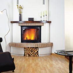 cheminée rustique brique et poutre en bois foncé atre et loisirs