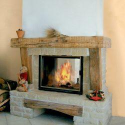 cheminée rustique en pierre et vieux bois atre et loisirs