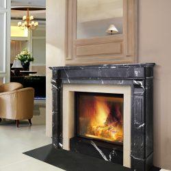 cheminee style louis xvi marbre noir foyer ruegg jade atre loisirs