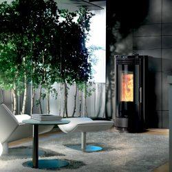 poele granule rond design moderne atre et loisirs installateur Grenoble chambery albertville montmélian