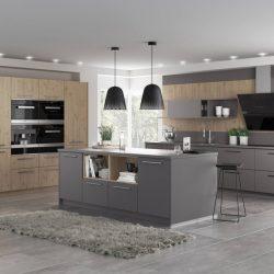 cuisine chene clair et gris, atre et loisirs, cuisiniste à Chambéry, Montmélian, Albertville, Pontcharra, La Rochette