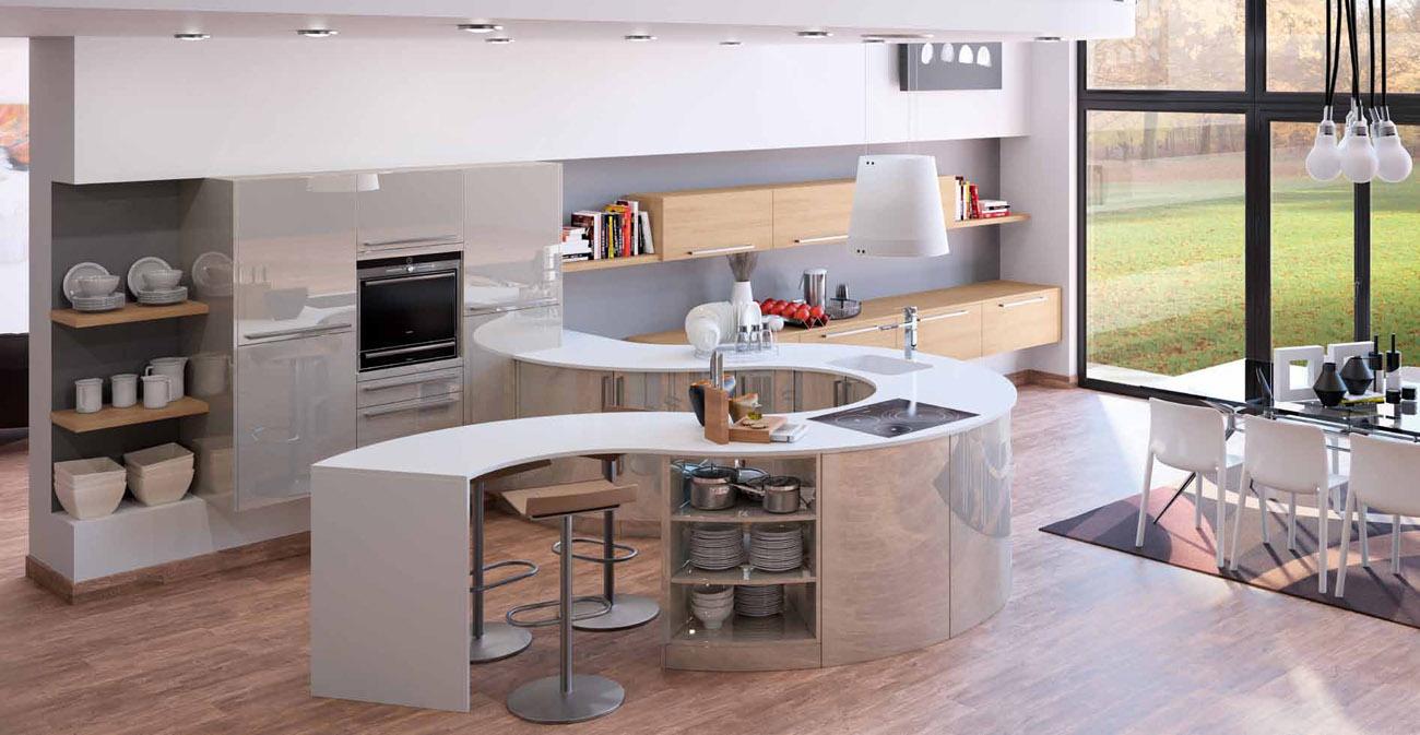 cuisine beige laqu cuisine grise plan de travail blanc recherche google cuisine cuisine dco. Black Bedroom Furniture Sets. Home Design Ideas