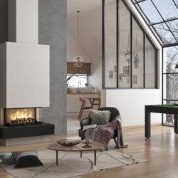 cheminée Atraflam 16 9 800 vitres contemporaine, avec granit noir, Jotul Chambéry, Atre et Loisirs Montmélian Arbin, installateur en Savoie Isère, Haute-Savoie