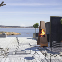 cheminée extérieur, barbecue, bbq Jotul Terrazza XL en acier corten rouillé, revendre Atre et Loisirs à Grenoble et Montmélian, Jotul Chambéry Savoie Isère Haute-Savoie