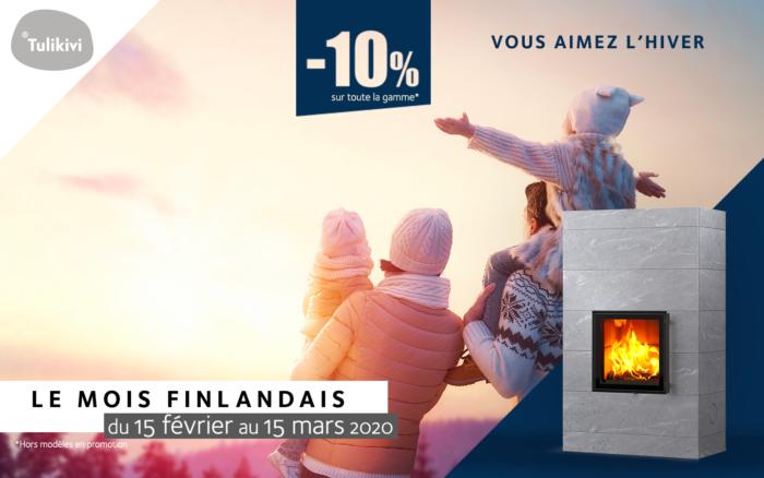 le mois finlandaise Tulikivi : des promotions, des remises de 10% sur l'ensemble des poêles de masse Tulikivi, à bois et à granulés, chez Atre et Loisirs du 15 février au 15 mars 2020