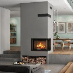 cheminée avec insert foyer Atraflam vision. cheminée moderne, installation Atre et Loisirs en Savoie, Isère, Haute Savoie